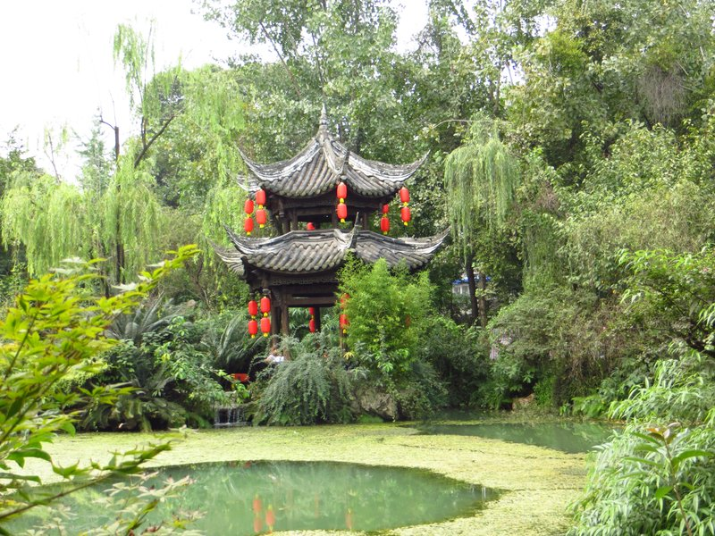 Temple and pond