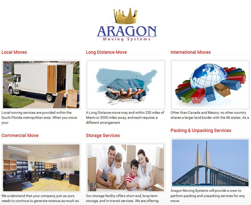 Aragon Movers - ServicesBanner