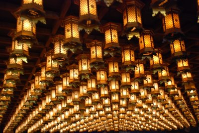 Miyajima - lanterns in the temple