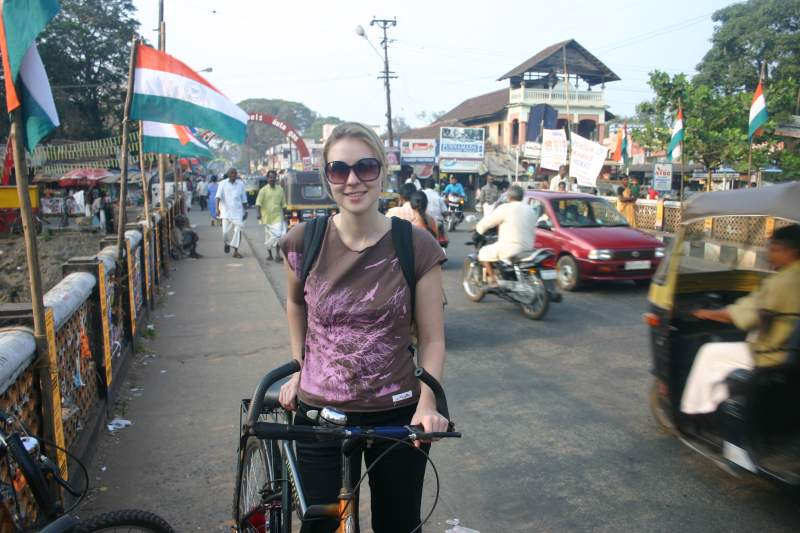 Nat bicycling in Alleppey