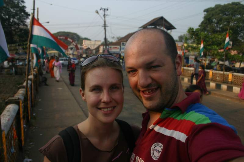 Nat and Ev on bicycles in Alleppey