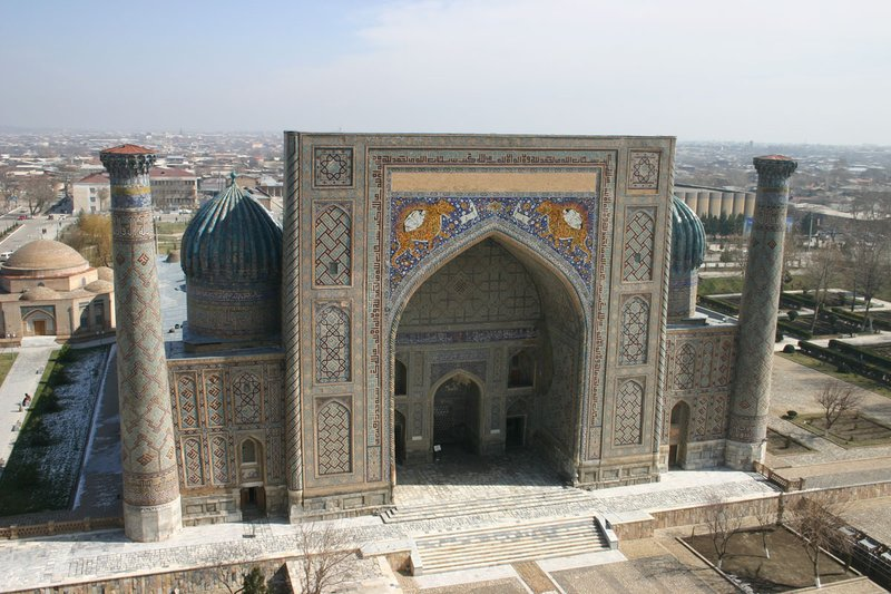 Sher Dor from the Minaret of Madrassa Ulugbek, The Registan