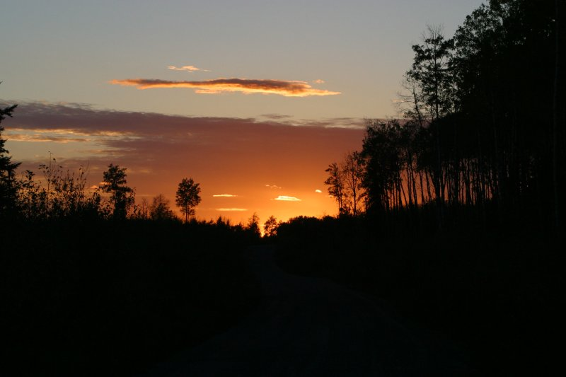 Sunset on a wilderness road north of Devlin, Ontario