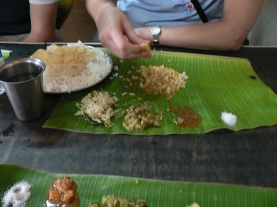 Full meal on a plantain leaf
