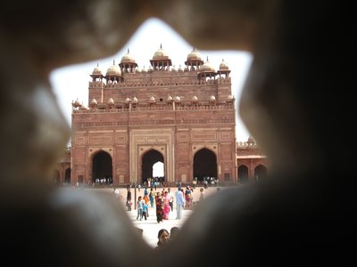 Fatehpur Sikri - Victory Gate shot through a carved window!