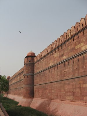 Mighty red sandstone walls at Delhi's Red fort
