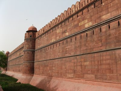 Red sandstone walls at the Lal Qila