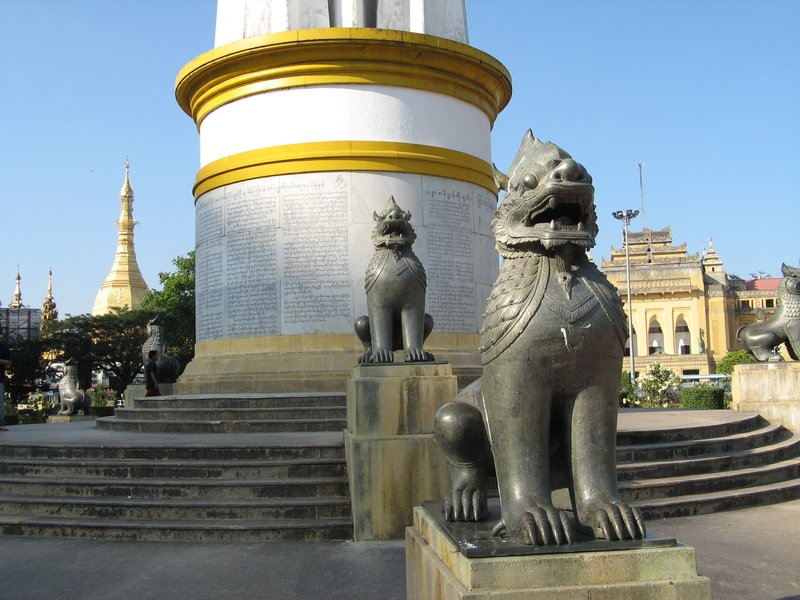 Independence Monument, Backdropped against City Hall(now unused) and Sule Paya