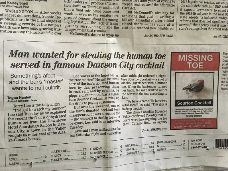 Newspaper - Sour Toe stolen