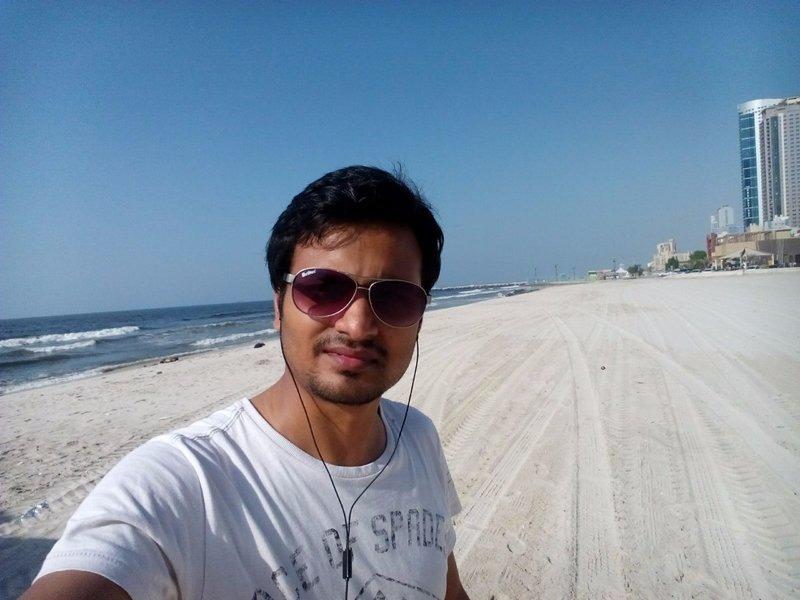 At a beach in Dubai