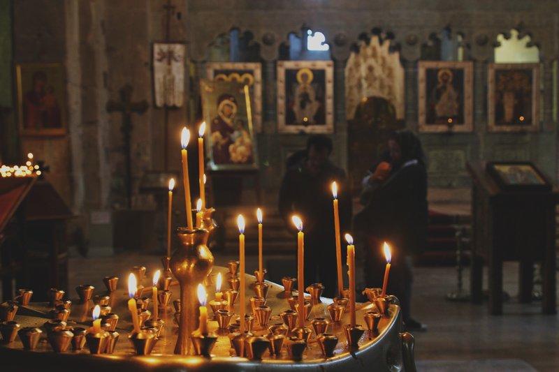 inside Svetitskhoveli Cathedral in Mtskheta