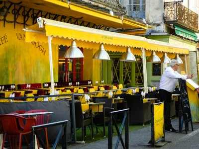 The actual cafe that Vincent painted in Place du Forum
