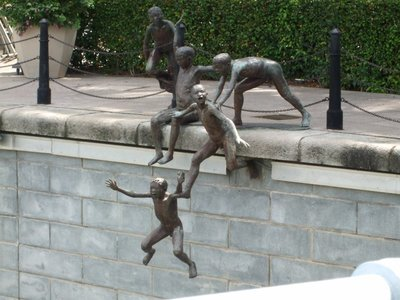 Jumping boys statue