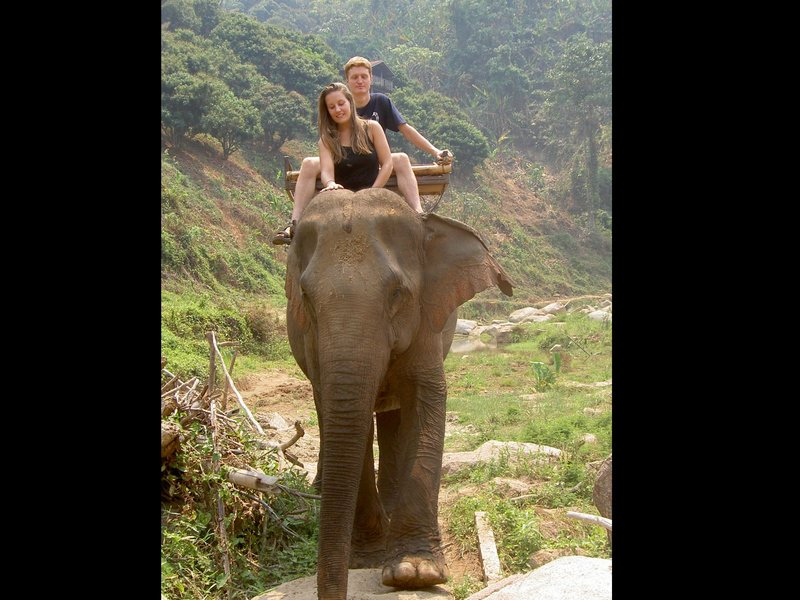 Ruth & Matt on an elephant (they're Matt's legs!)