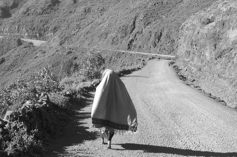 Woman walking near Lalibela