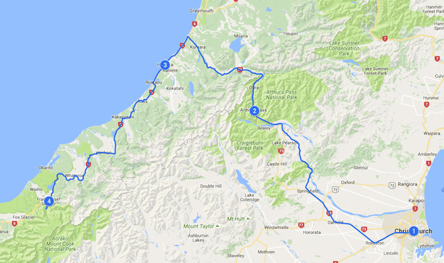 Christchurch to Franz Josef Map