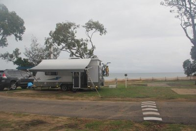 Beach front camping in Hervey Bay