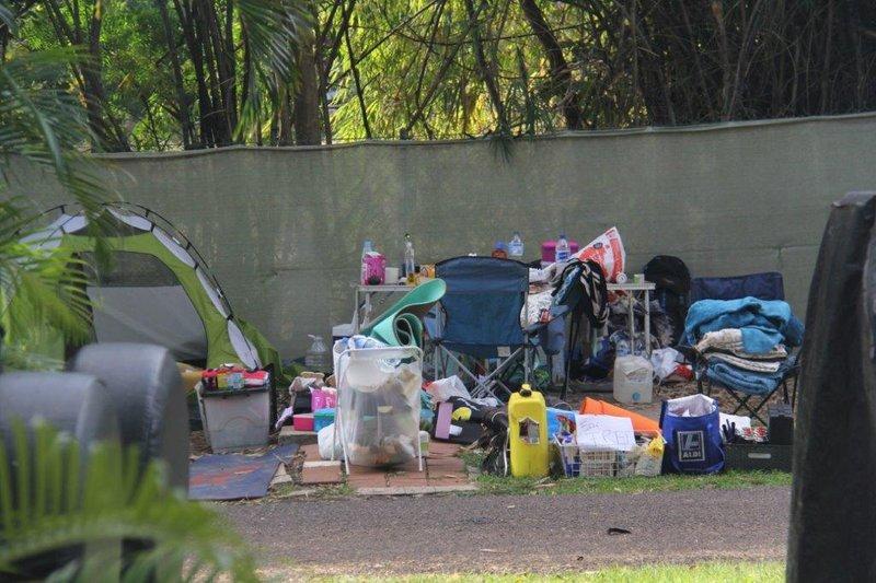 Backpackers belongings sorting before return to Germany