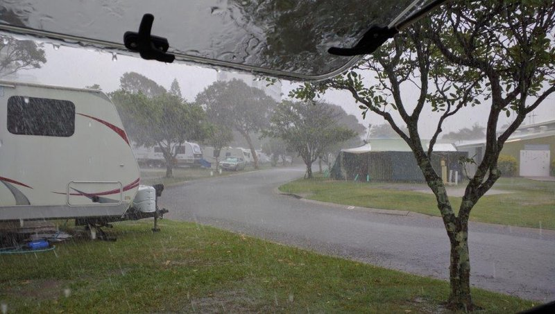 Bucketing down in Marochydoore Holiday Park