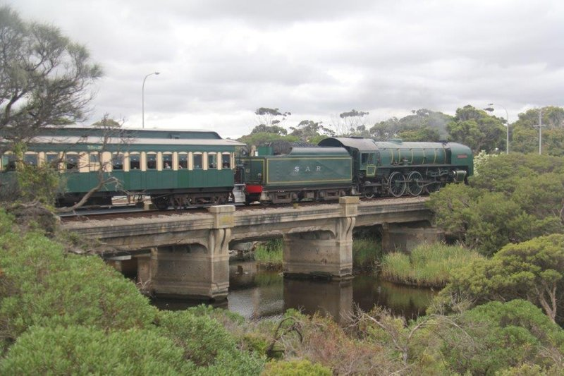 Cockle Train passing at river mounth near our camp site