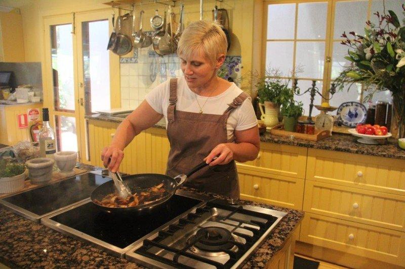 Cooking demo in Maggie Beer's kitchen