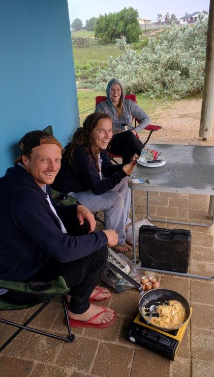 Coral Bay toilet block a good place for backpacker to cook in rain