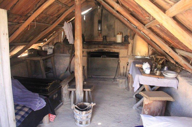 Early mining hut inside