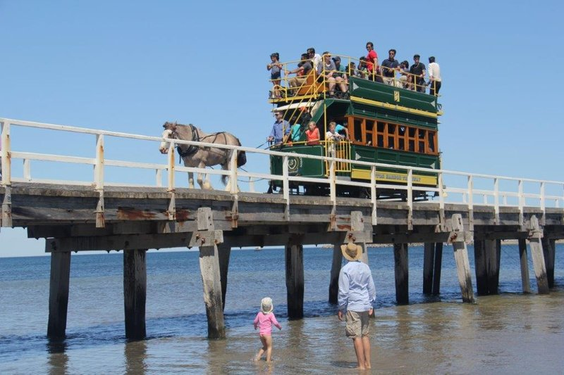 Horse drawn tram across Causeway to Granite Island