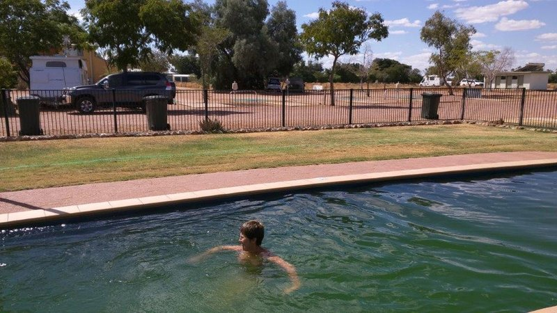 Longreach park pool and our van