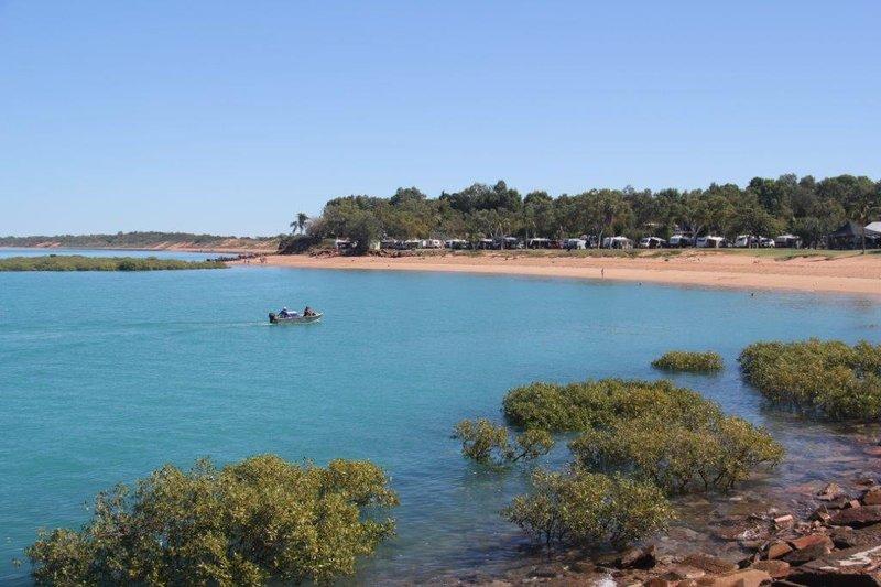 Our caravan park and beach where we swam