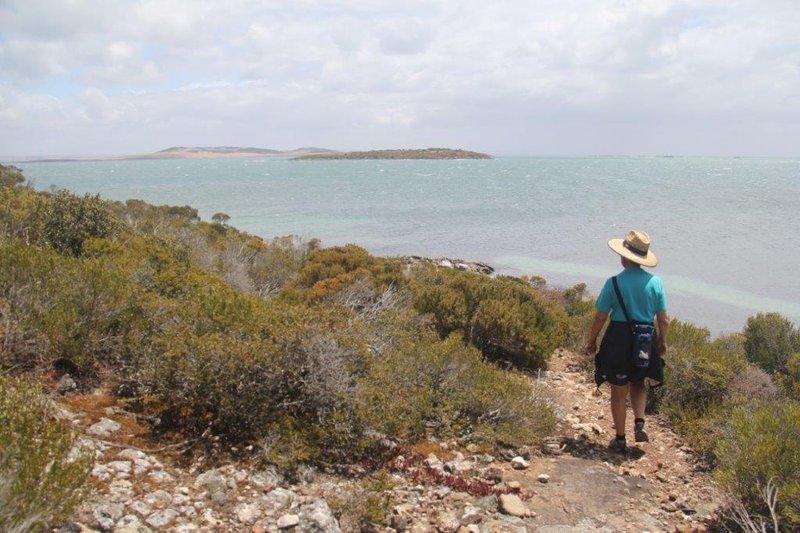 Park walk, sandy island is sheep satation and mussel farm on horizon