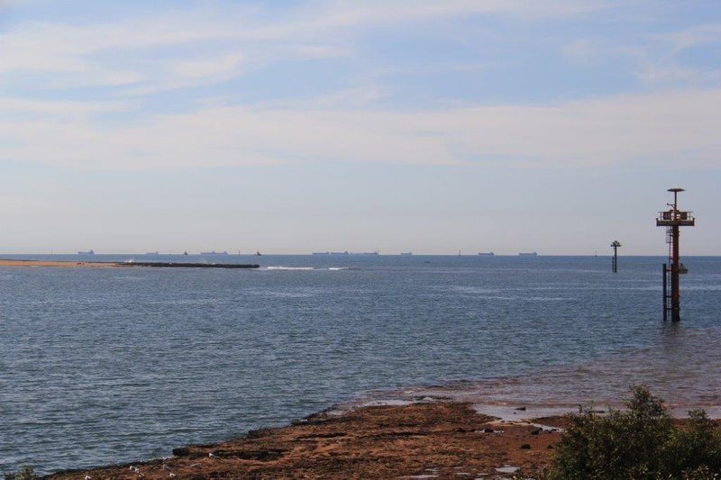 Ships waiting for iron ore