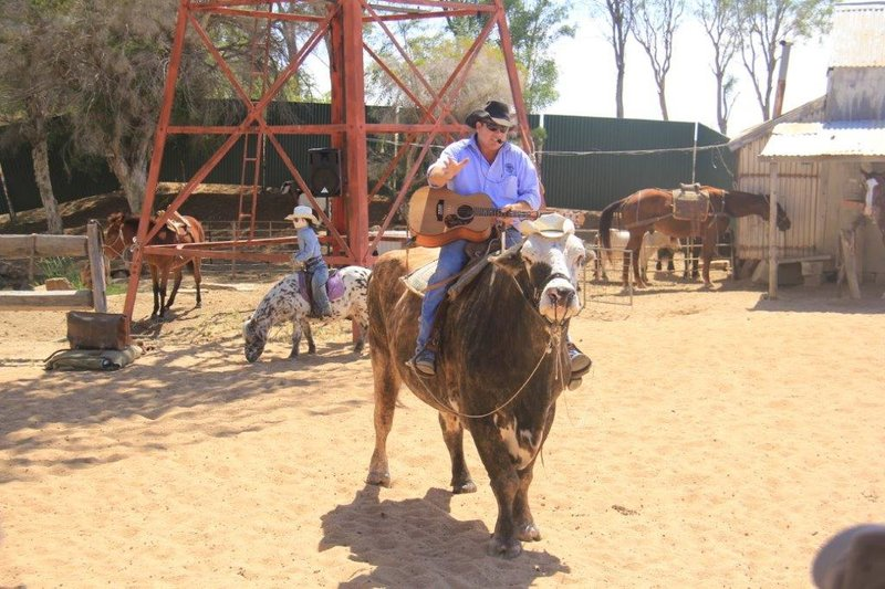 Stockman show riding 1000kg bull while singing