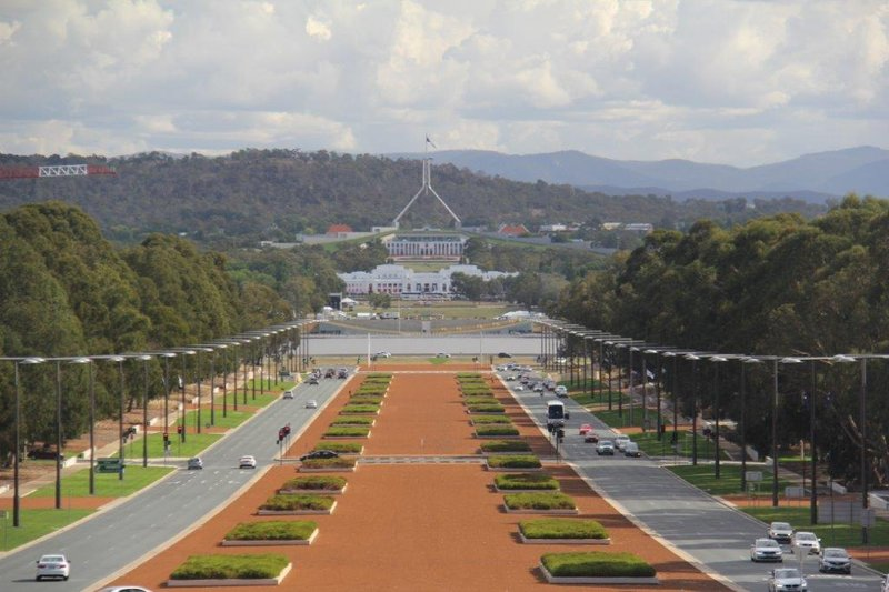 View from Nat War Mem to old and new Parliament House