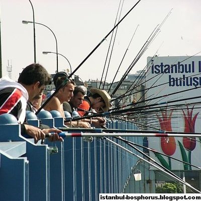Fishing on Istanbul Golden Horn Bridge