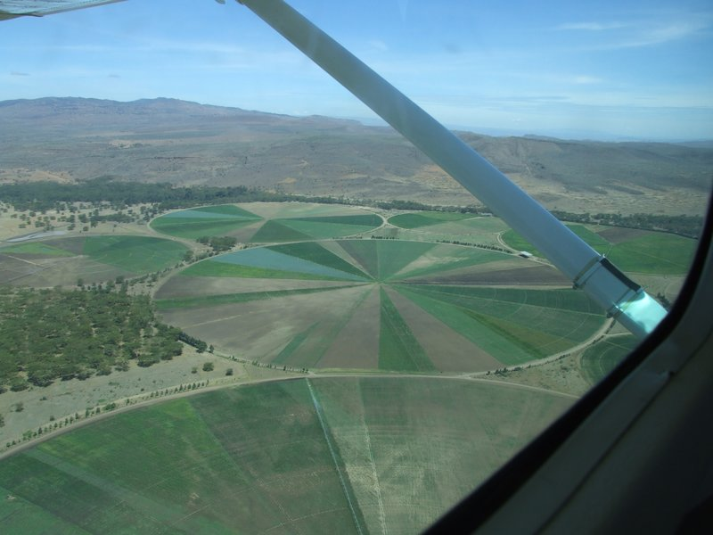 Irrigation circles near Lake Naivasha from the air