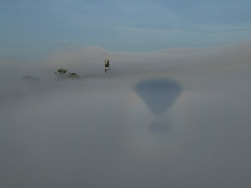 Balloon in the fog over the Mara