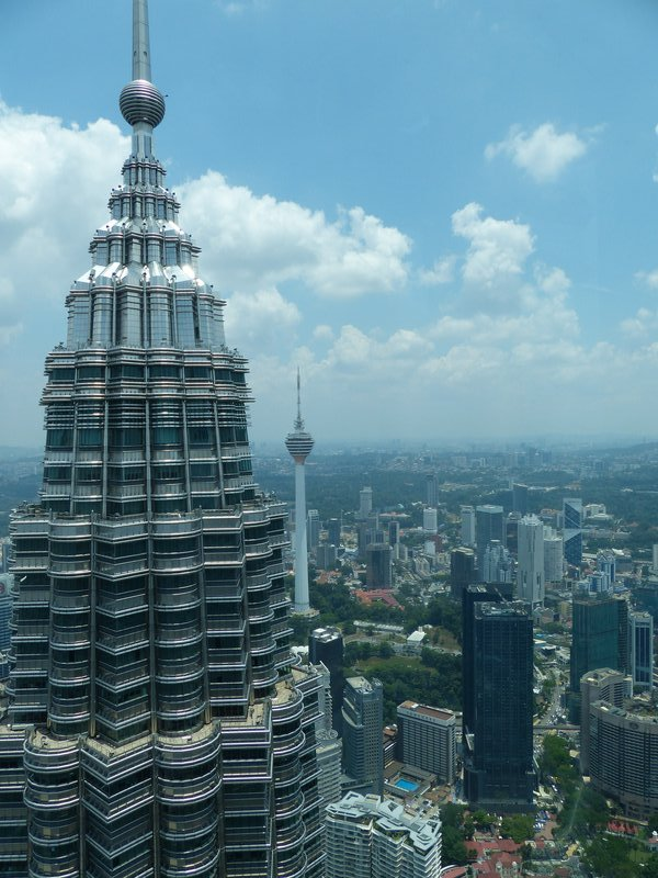 ^ At the top of one of the towers looking to its twin. Behind that is another tower which was just across the road from our hotel; that tower was the tallest in Malaysia until the Petronas duo came along.