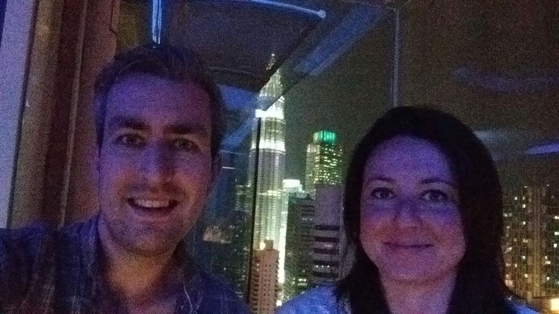 Not the best quality photo (taken with a phone) but hopefully you can see the twin towers in the background; this is from our hotel bar.