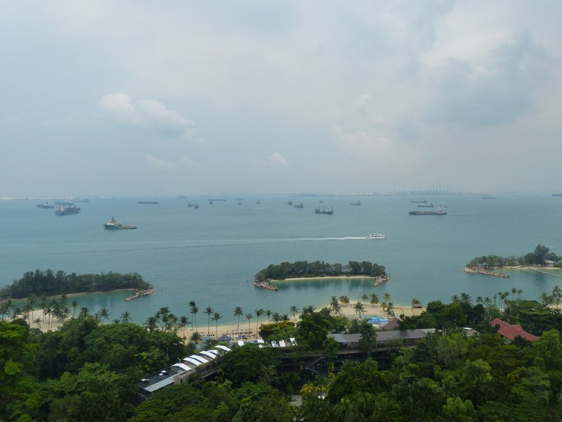 Sentosa Island, note all the ships in the sea... it's like this for miles and miles (we saw from the air as we flew in)... tankers, cargo ships and so on