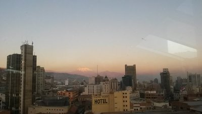 We were rather spoiled at 'work', our view over La Paz from the sky bar of Loki