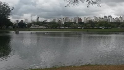 View across the lake, from Ibirapuera Park to the city