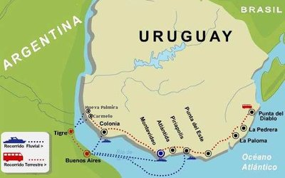The paths from BA to Uruguay