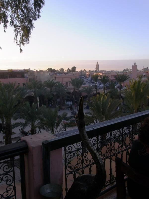 Marrakech - view to Koutoubia from bar terrace 2011