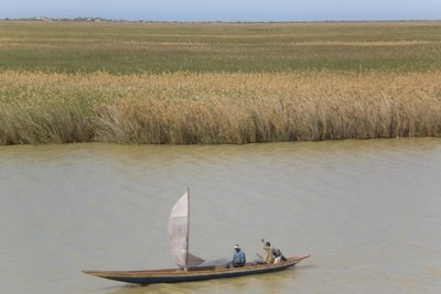 Senegal river with fishermen boat 2009