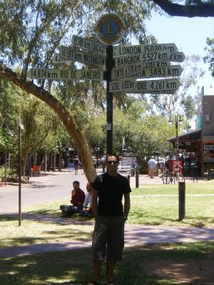Distance sign at Alice Springs