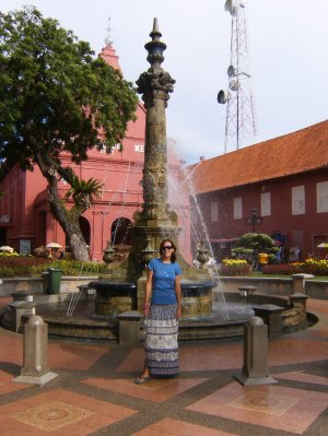Kay at the fountain in Melaka