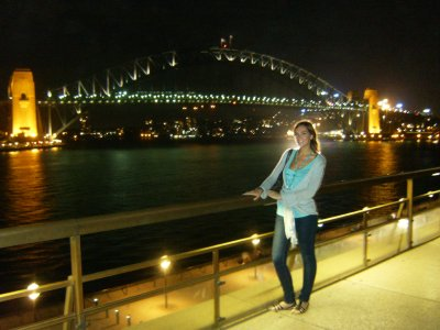 Kay at Sydney Harbour (at night)