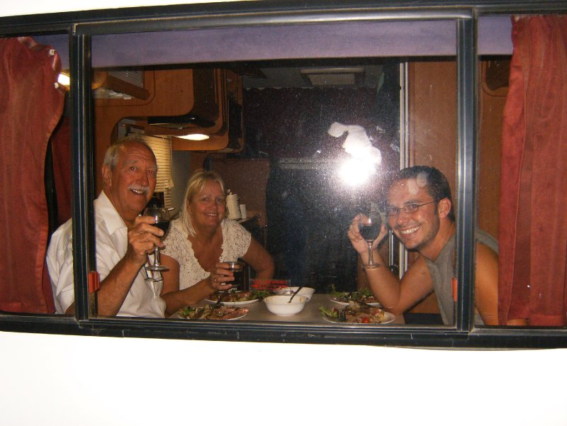 Having a drink in the camper!