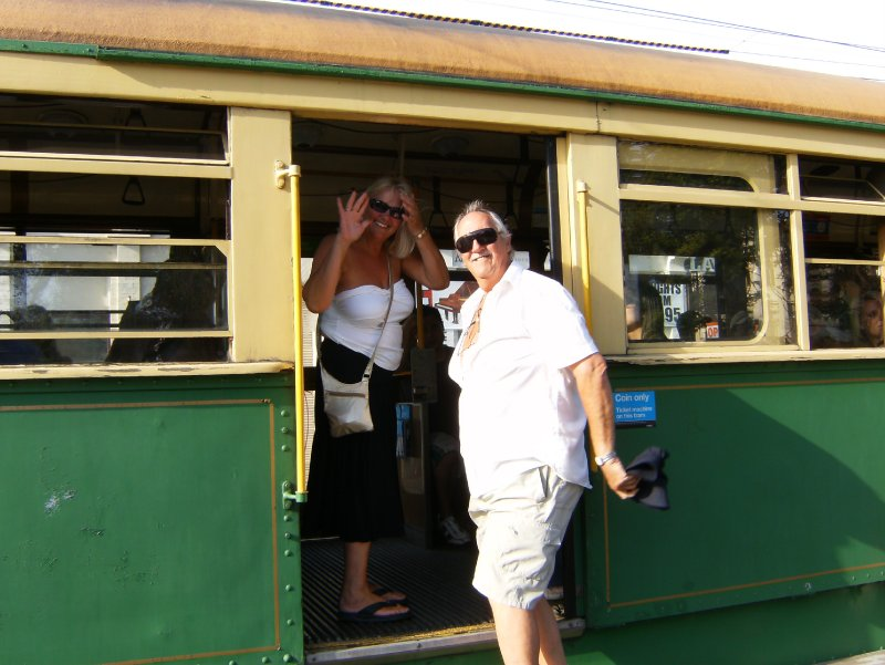 Mum & Dad getting on Tram